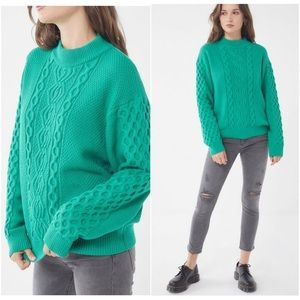 UO Austin Mock-Neck Cable Knit Sweater Top